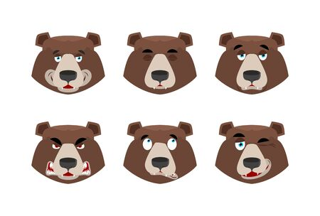 Emotions bear. Set expressions avatar grizzly. Animal good and evil. Beast discouraged and cheerful and winks