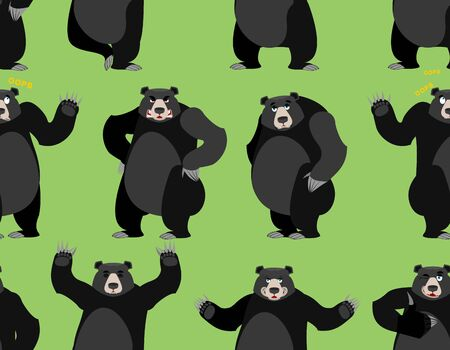 baribal seamless pattern. American black bear ornament. Set a wild animal. Forest animal with dark hair. Large predator strong background. Texture of fabric for baby