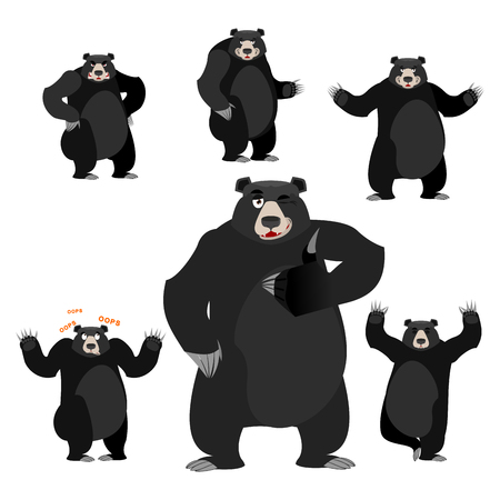predator: Baribal American black bear set. Grizzly various poses. Expression of emotions. Wild animal yoga. Evil and the good. Sad and happy animal. Large predator strong thumbs up Illustration