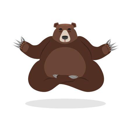 nirvana: Bear meditates. Wild animals on white background. Status of nirvana and enlightenment. Lotus Pose. Beast yoga Illustration