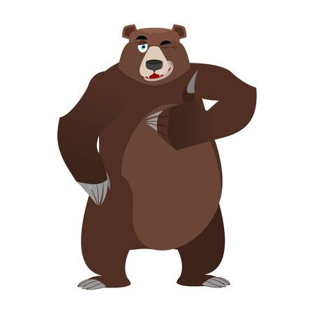 all right: Bear thumbs up and winks. all well Grizzlies. Signs all right. Hand showing ok. Gesture of hand. Good happy wild animal. Forest beast with brown fur. Big strong predator Illustration