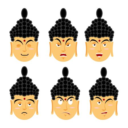 discouraged: Emotions buddha. Set expressions avatar Indian god. Good and evil. Discouraged and cheerful. Supreme teacher for Buddhists. Holy man Illustration