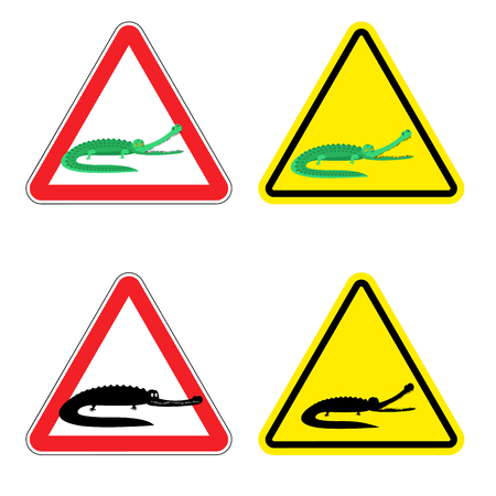 yellow attention: Warning sign of attention crocodile. Dangers yellow sign aggressive alligator. Cayman on red triangle. Set of road signs against wild amphibian. Attention predator reptile