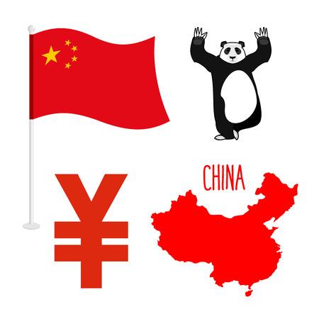 mapa de china: establecen china s�mbolo iconos. Correspondencia e indicador de pa�s. Signo de yenes moneda nacional. animal nacional del oso de panda chino Vectores