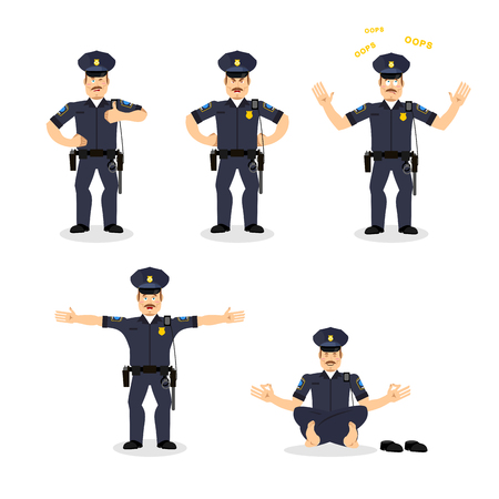 constable: Police set of motion. Cop set different poses. Constable man expression of emotions. Good and angry. Discouraged and cheerful. Face policeman Illustration