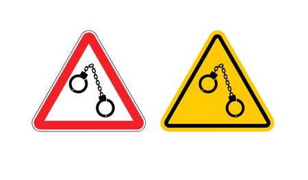 Warning sign arrest attention. Dangers yellow sign detention. Handcuffs on red triangle. Set road sign against a cop. caution police
