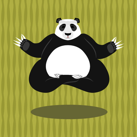 Panda Yoga. Chinese bear on background of bamboo. Status of nirvana and enlightenment. Lotus Pose. Wild Animal meditating