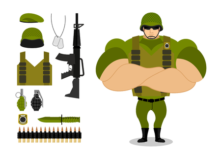 ammunition: Soldiers and weapons. Set of military ammunition for war. Army collection. Armed forces. Big strong troops. Vest and rifle. Grenade and machine-gun belts. Knife and green beret