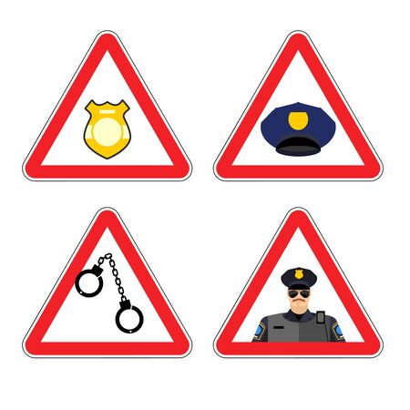 Warning sign police attention. Dangers yellow sign detention. Police badge and police cap. Set road sign against a cop. policeman Warning