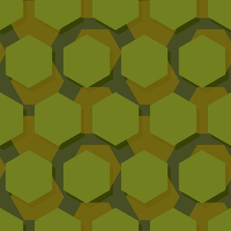 troops: Military polygonal seamless pattern. Army abstract hexagon texture. Protective ornament for soldiers. Green soldiery background. war khaki for hunters and troops
