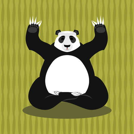 Panda meditating. Chinese bear on background of bamboo. Status of nirvana and enlightenment. Lotus Pose. Wild Animal Yoga