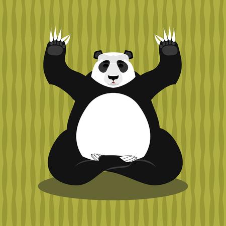 nirvana: Panda meditating. Chinese bear on background of bamboo. Status of nirvana and enlightenment. Lotus Pose. Wild Animal Yoga