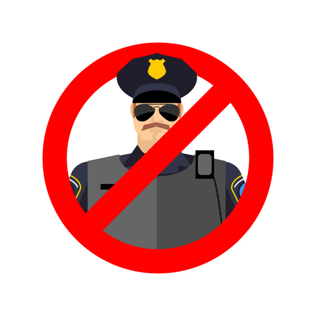strikethrough: Stop cop. It is forbidden by police. Strikethrough constabulary. Emblem against servants of law officer. Red prohibition sign. Ban policeman actions