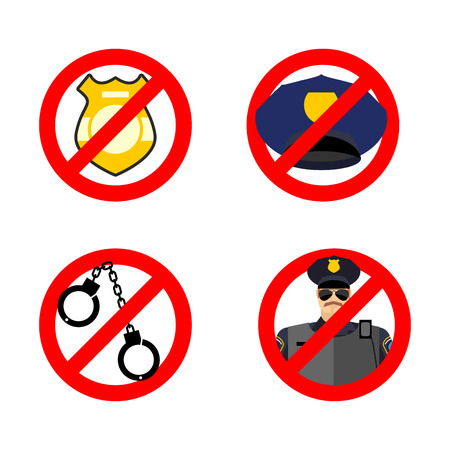 strikethrough: Stop cop set icon. It is forbidden by police. Strikethrough policeman. Emblem against servants of law. Police badge and cap. Red prohibition sign. Ban officer action. Illustration
