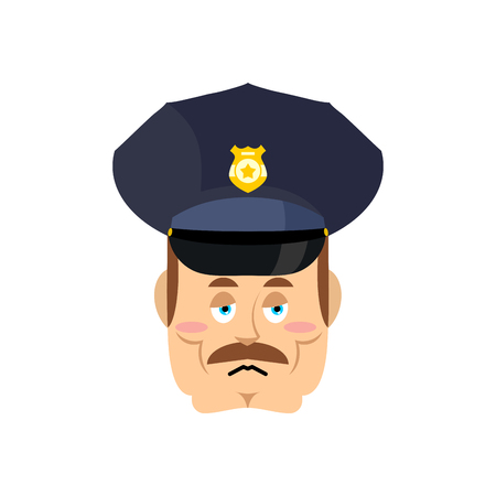 grieving: Sad cop. Tragic policeman. Bored police officer