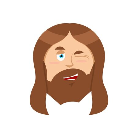 Jesus winks. Good Christ. Mimicry smile on face of Son of God. Holy man