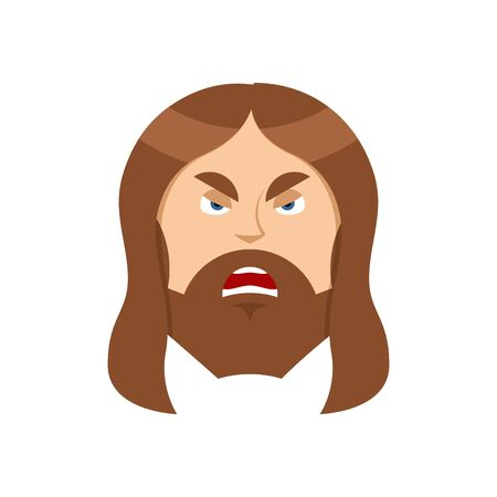 Angry Jesus Christ.. Unhappy with Son of God. Ferocious man Illustration