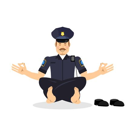 meditate: Policeman meditating. Cop yoga. Police officer relaxes. Status of nirvana and enlightenment. Lotus Pose. Illustration
