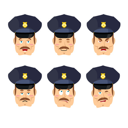 good and evil: Emotions policeman icon. Set expressions avatar cop. Good and evil. Discouraged and cheerful. Face constable police