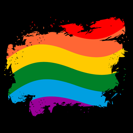 LGBT flag grunge style. Brush strokes and ink splatter. Symbol of gay and lesbian. Badge and homosexual community. Developing rainbow flag