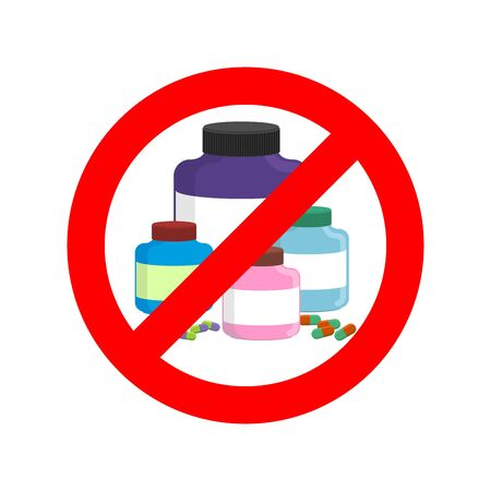 steroids: Stop doping. It is forbidden to take stimulants. Crossed-out sports nutrition and pills. Emblem against steroids. Red prohibition sign. Ban dope