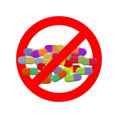 Stop doping. Ban dope. It is forbidden to take stimulants. Crossed-out sports nutrition and pills. Emblem against steroids. Red prohibition sign