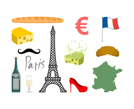 map wine: France set icons. Traditional travel symbol. Sights and characteristics of country. Eiffel Tower and croissant. French flag and map. Wine and cheese. Fashion and baguette. Dorblu with mold and euro sign