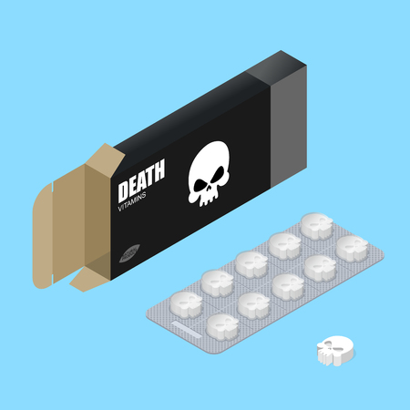 medicament: Death pills in pack. Deadly vitamins in box.  medicament for lethal outcome in form of skull. Scary poisonous medicines. Medical drugs. Illustration