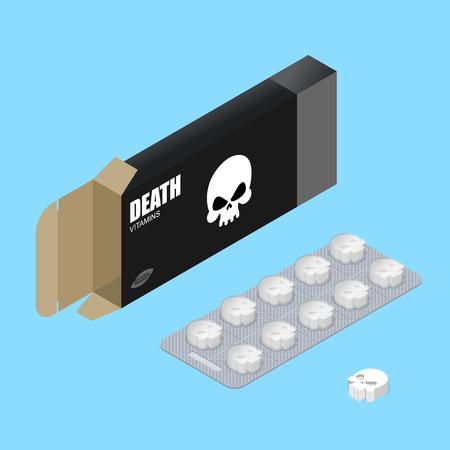 pigułki Śmierć w opakowaniu. Zabójcze witaminy w pudełku. lek do śmiertelnego rezultatu w postaci czaszki. Scary trujących leków. leki medyczne. Ilustracje wektorowe