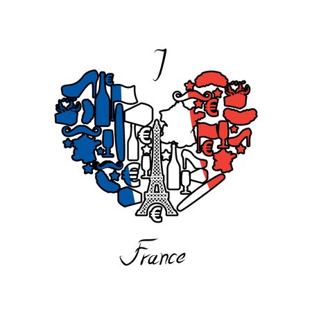 I love France. Traditional French national set of icons in form of heart. Eiffel Tower and croissant. French flag and map. Wine and cheese. Fashion and baguette. Dorblu mold label and euro symbol. State travel Illustration