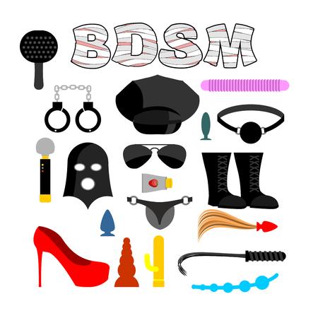 Icone di sesso per BDSM. Sextoys per xxx. Knut e gag. Frusta e cappuccio in pelle. Vibratore e dildo. maschera e pagaie. Manette e tubo anale