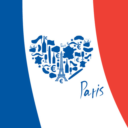 map wine: I Love Paris. Traditional French national set of icons in form of heart. Eiffel Tower and croissant. French flag and map. Wine and cheese. Fashion and baguette. Dorblu with mold and euro symbol. Traditional travel sign Illustration