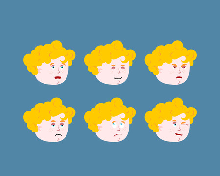 amur: Emotions cupid baby. Set expressions avatar kids amur. Good and evil. Discouraged and cheerful. Curly-haired bos face Illustration