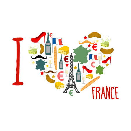 map wine: I love France. Traditional French national set of icons in form of heart. Eiffel Tower and croissant. French flag and map. Wine and cheese. Fashion and baguette. Dorblu mold label and euro symbol. State travel Illustration