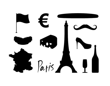characteristics: France set icons. Traditional travel symbol. Sights and characteristics of country. Eiffel Tower and croissant. French flag and map. Wine and cheese. Fashion and baguette. Dorblu with mold and euro sign