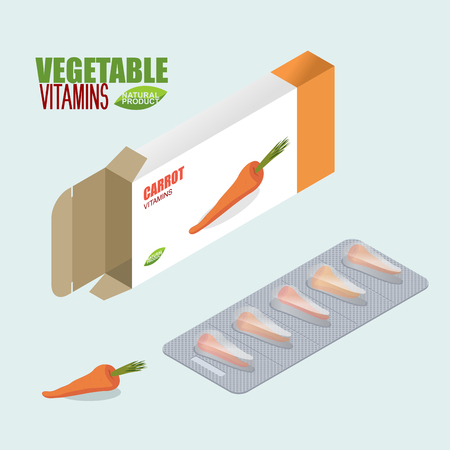 medicament: Carrots pills in pack. Vegetarian vitamins. Tablets box. Natural products for health in form of fresh carrot. Medicament vegetable. Medical drugs.