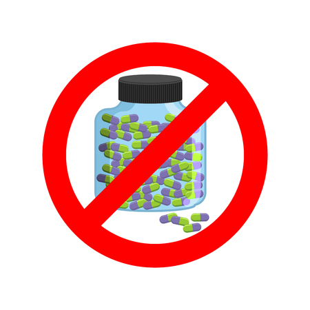 Ban doping. It is forbidden to take stimulants. Crossed-out sports nutrition and pills. Emblem against steroids. Red prohibition sign. Stop dope