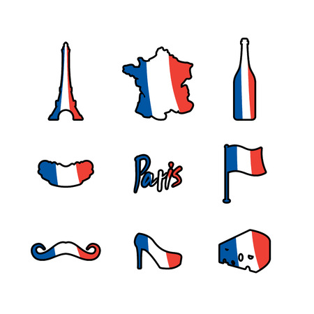 map wine: Paris icons set. Traditional French national symbols. Eiffel Tower and croissant. French flag and map. Wine and cheese. Fashion and baguette. Dorblu with mold and euro Travel sign Illustration