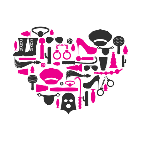 I love BDSM. Fetish icon set in heart shape. Emblem for fans of hard sex. Accessories sadist masochist love. whip and gag. Paddles and cap. Vibrator and mask. Handcuffs and anal tube. Sex toys. Illustration