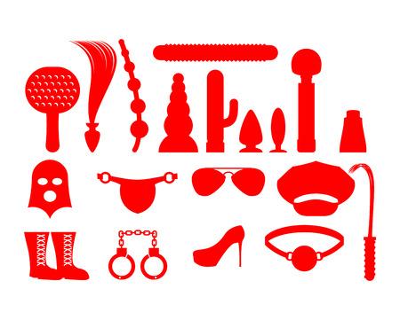 Geslachtspictogrammen voor BDSM. Sextoys voor xxx. Knut en kokhalzen. Leren zweep en pet. Vibrator en dildo. masker en peddels. Handboeien en anale buis