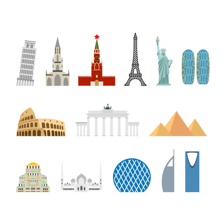 Landmark travel set. Architectural monuments. Known state of building. Eiffel Tower, and Moscow Kremlin. Leaning Tower and Statue of Liberty in USA. Egyptian pyramids and Roman Colosseum. mosque Abu Dhabi and Brandenburg Gate in Berlin. Berne Cathedral to Illustration
