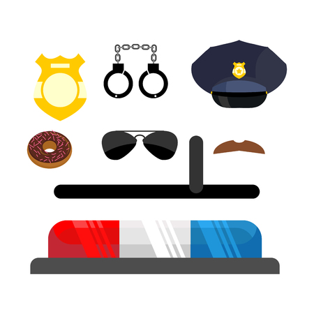 truncheon: Police icons set. Symbols policeman. Cop accessories in flat style. Warning light for police car. Handcuffs and truncheon. Cap and badge. Moustache and donut