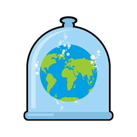 cleaning planet: Earth in Glass bell. Conservation and protection of nature. Globe in laboratory flask. Planet study. Glass Bank Research. Experimental data analysis. Globe in liquid Illustration