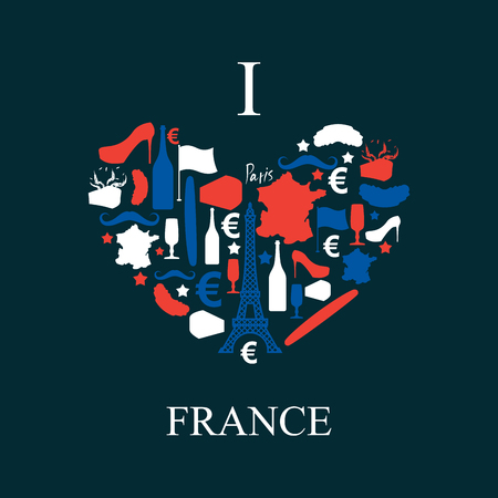 i label: I love France. Traditional French national set of icons in form of heart. Eiffel Tower and croissant. French flag and map. Wine and cheese. Fashion and baguette. Dorblu mold label and euro symbol. State travel Illustration