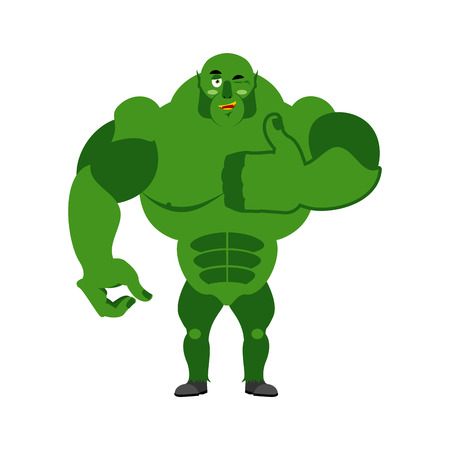 goblin: Ogre thumbs up showing well. Sign all right. Jolly Green Monster. Hand showing ok. Gesture of hand Troll. Good Goblin. Illustration