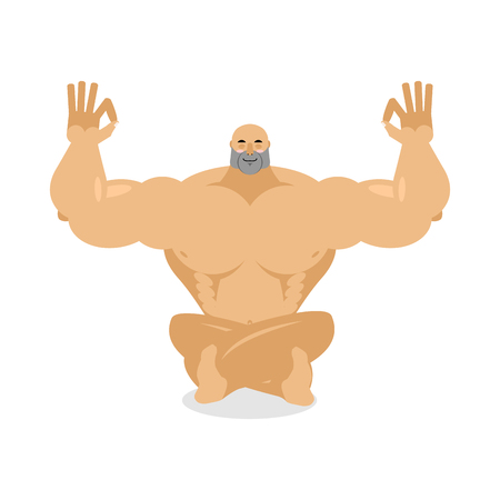 Muscled meditating. Bodybuilder on white background. Status of nirvana and enlightenment. Lotus Pose. Sports yoga
