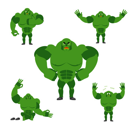 Ogre set poses. Expression of emotions green monster. Evil and good goblin. Sad and happy troll. big strong freak