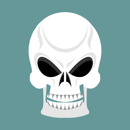 marauder: Skull with grin. skeleton head isolated. cranium in green background Illustration