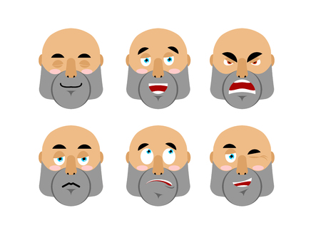 good and evil: Emotions man. Set emoji avatar people. Good and evil citizen with beard. Discouraged and cheerful. Sad and sleepy. Aggressive and cute character Illustration