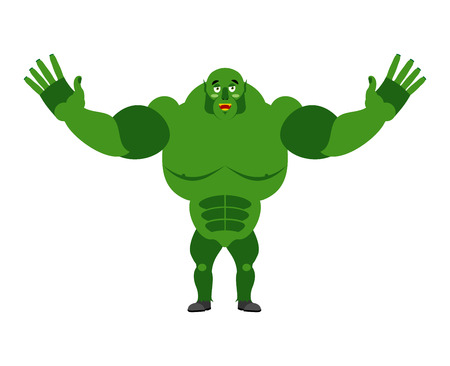 monstrous: ?Cheerful ogre spread his arms in an embrace. Good big green Troll. Lovely kind monster goblin